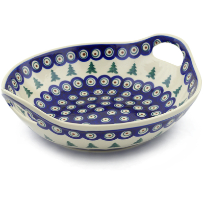 "Polish Pottery Bowl with Handles 10"" Peacock Pines"