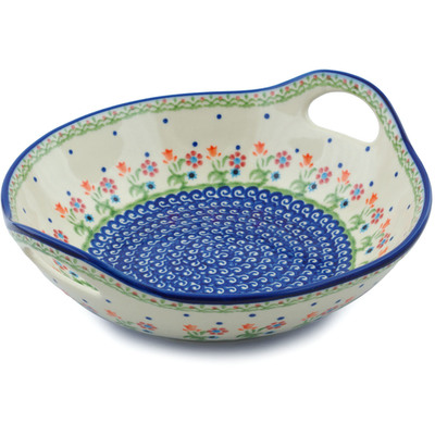 "Polish Pottery Bowl with Handles 10"" Spring Flowers"