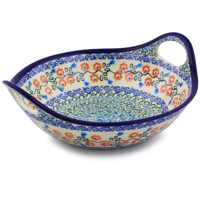 "Polish Pottery Bowl with Handles 10"" Tulip Vines"