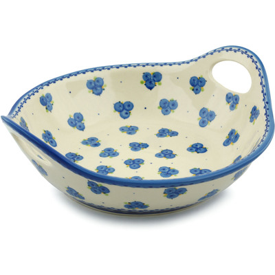 "Polish Pottery Bowl with Handles 12"" Blueberry Cluster"