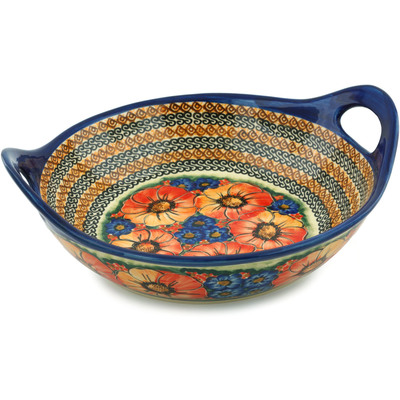 "Polish Pottery Bowl with Handles 12"" Bright Beauty UNIKAT"