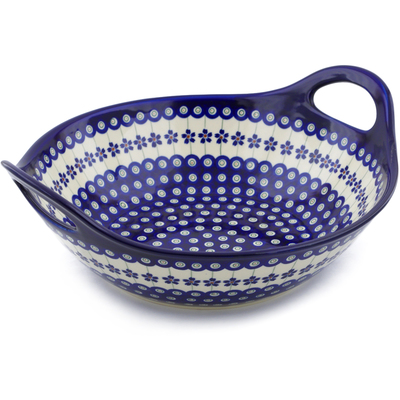 Polish Pottery Bowl with Handles 12-inch Flowering Peacock