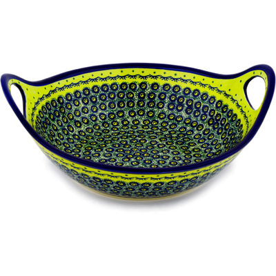 Polish Pottery Bowl with Handles 12-inch Peacock Bumble Bee