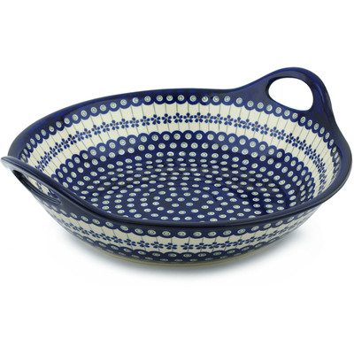Polish Pottery Bowl with Handles 15-inch Flowering Peacock