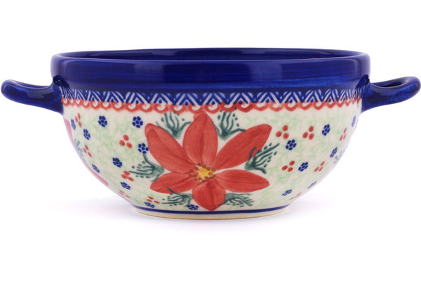 Polish Pottery Bowl With Handles 8 Quot Poinsettia Unikat