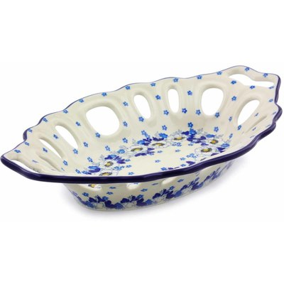 "Polish Pottery Bowl with Holes 13"" Country Garden"