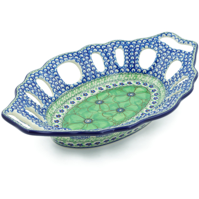 "Polish Pottery Bowl with Holes 13"" Green Pansies UNIKAT"