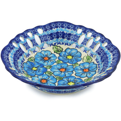 "Polish Pottery Bowl with Holes 9"" Bold Blue Poppies UNIKAT"