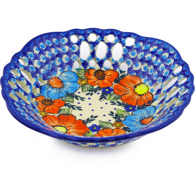 "Polish Pottery Bowl with Holes 9"" Bold Poppies UNIKAT"