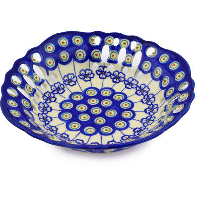 "Polish Pottery Bowl with Holes 9"" Flowering Peacock"