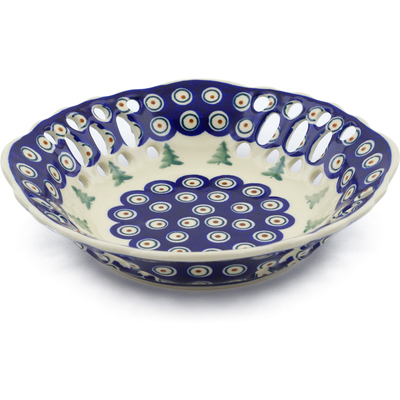 "Polish Pottery Bowl with Holes 9"" Peacock Pines"