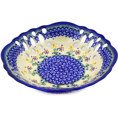 "Polish Pottery Bowl with Holes 9"" Spring Flowers"