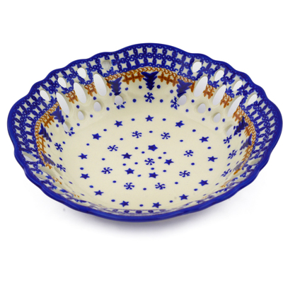 "Polish Pottery Bowl with Holes 9"" Winter Snow"