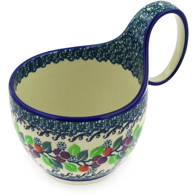 Polish Pottery Bowl with Loop Handle 16 oz Berry Garland