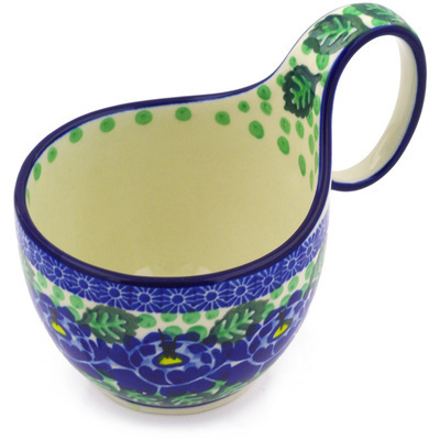 Polish Pottery Bowl with Loop Handle 16 oz Blue Bliss