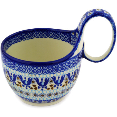 Polish Pottery Bowl with Loop Handle 16 oz Blue Ice