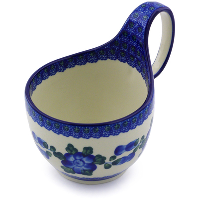 Polish Pottery Bowl with Loop Handle 16 oz Blue Poppies