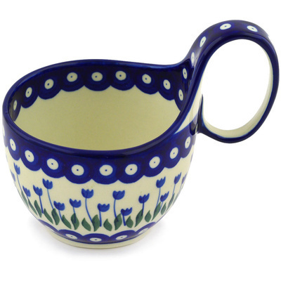 Polish Pottery Bowl with Loop Handle 16 oz Blue Tulip Peacock