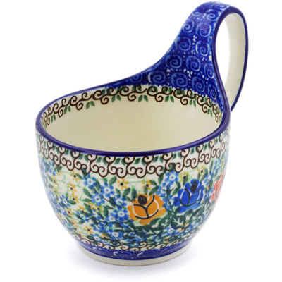 Polish Pottery Bowl with Loop Handle 16 oz Bluebonnets And Roses UNIKAT