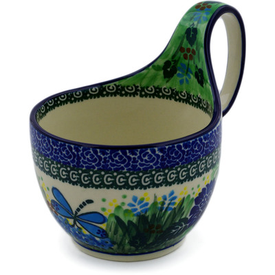 Polish Pottery Bowl with Loop Handle 16 oz Garden Delight UNIKAT