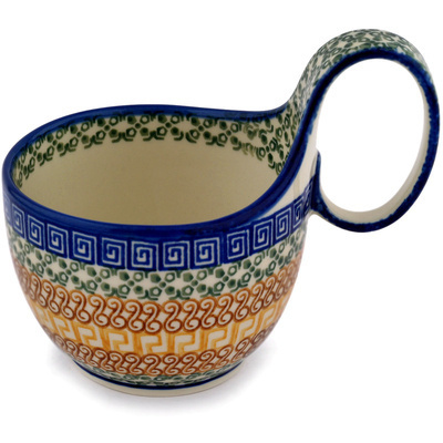 Polish Pottery Bowl with Loop Handle 16 oz Grecian Sea