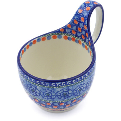 Polish Pottery Bowl with Loop Handle 16 oz Midnight Tango UNIKAT