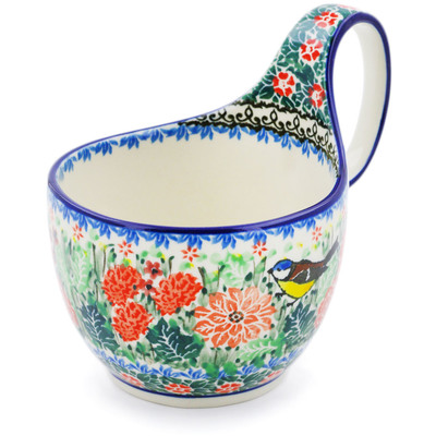 Polish Pottery Bowl with Loop Handle 16 oz Robbin's Meadow UNIKAT