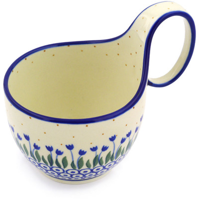 Polish Pottery Bowl with Loop Handle 16 oz Water Tulip