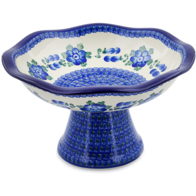"Polish Pottery Bowl with Pedestal 11"" Blue Poppies"