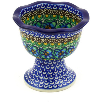 "Polish Pottery Bowl with Pedestal 4"" Mardi Gra UNIKAT"