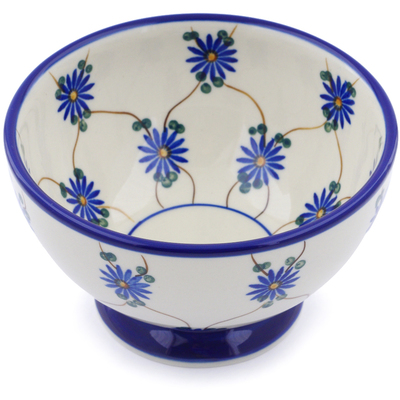 "Polish Pottery Bowl with Pedestal 5"" Aster Trellis"