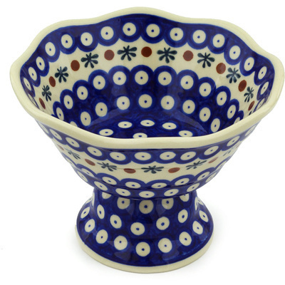 "Polish Pottery Bowl with Pedestal 7"" Mosquito"