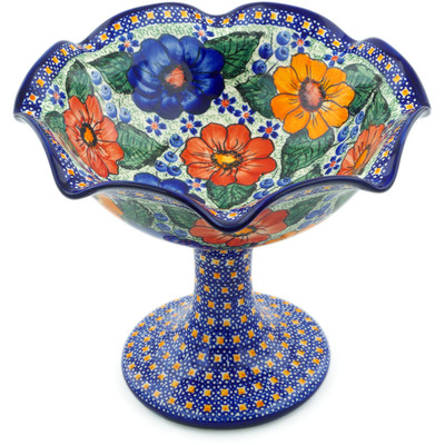 "Polish Pottery Bowl with Pedestal 9"" Bold Pansy UNIKAT"