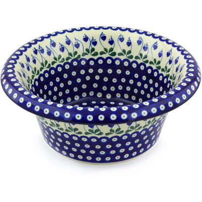 "Polish Pottery Bowl with Rolled Lip 12"" Bleeding Heart Peacock"