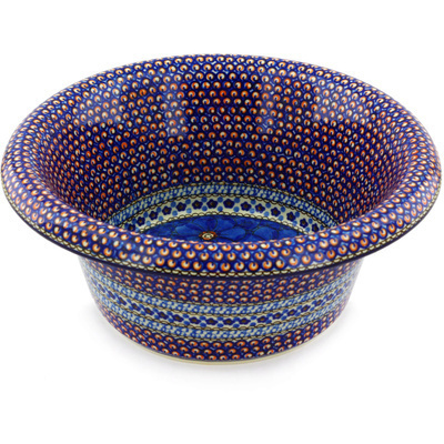 "Polish Pottery Bowl with Rolled Lip 12"" Cobalt Poppies UNIKAT"