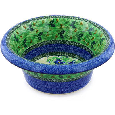 "Polish Pottery Bowl with Rolled Lip 12"" Spring Garden UNIKAT"