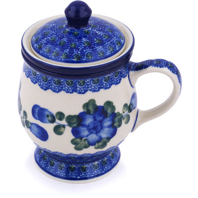 Polish Pottery Brewing Mug 10 oz Blue Poppies