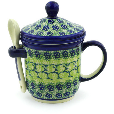 Polish Pottery Brewing Mug with Spoon 12 oz Emerald Forest