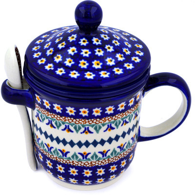 Polish Pottery Brewing Mug with Spoon 12 oz Floral Peacock UNIKAT