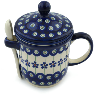 Polish Pottery Brewing Mug with Spoon 12 oz Flowering Peacock