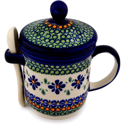 Polish Pottery Brewing Mug with Spoon 12 oz Gingham Flowers