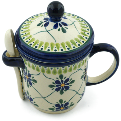 Polish Pottery Brewing Mug with Spoon 12 oz Gingham Trellis