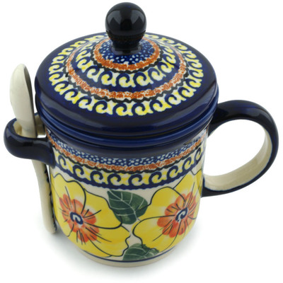 Polish Pottery Brewing Mug with Spoon 12 oz Lemon Poppies UNIKAT