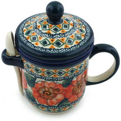Polish Pottery Brewing Mug with Spoon 12 oz Peach Poppies UNIKAT