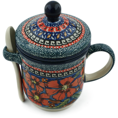 Polish Pottery Brewing Mug with Spoon 12 oz Poppies UNIKAT