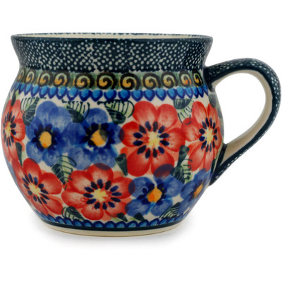 Polish Pottery Bubble Mug 11 oz Blue And Red Poppies UNIKAT