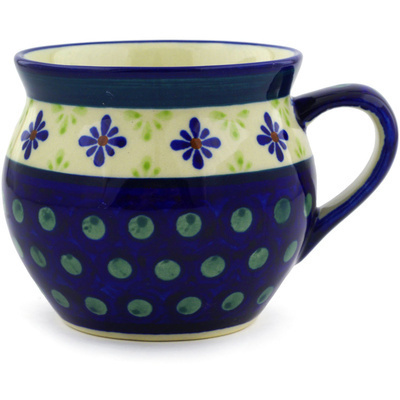 Polish Pottery Bubble Mug 11 oz Green Gingham Peacock
