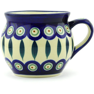 Polish Pottery Bubble Mug 11 oz Peacock Leaves