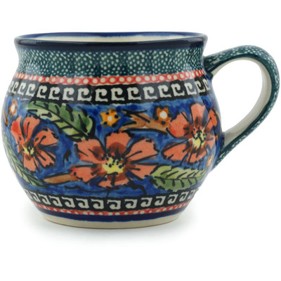 Polish Pottery Bubble Mug 11 oz Poppies UNIKAT