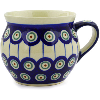 Polish Pottery Bubble Mug 11 oz Traditional Peacock